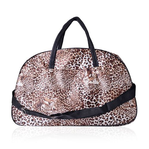Brown Colour Leopard Pattern Weekend Bag with External Zipper Pocket and Adjustable Shoulder Strap (Size 50x31x17 Cm)