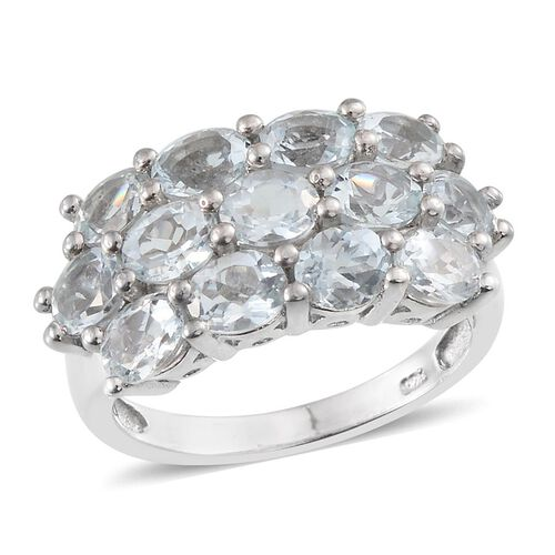 Espirito Santo Aquamarine (Ovl) Ring in Platinum Overlay Sterling Silver 3.500 Ct.