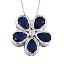 Ceylon Colour Quartz (Pear), Natural Cambodian Zircon Floral Pendant With Chain in Platinum Overlay Sterling Silver 6.750 Ct.
