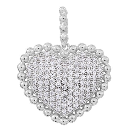 ELANZA AAA Simulated Diamond (Rnd) Heart Pendant in Rhodium Plated Sterling Silver