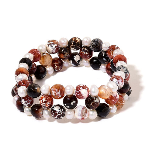 Red Agate and Fresh Water White Pearl Stretchable Bracelet (Size 7.5) 185.000 Ct.