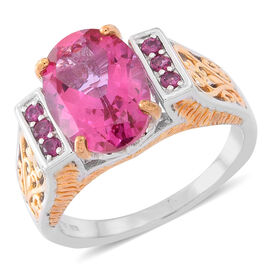 New York Closeout-Mystic Pink Coated Topaz (Ovl 7.00 Ct), Rhodolite Garnet Ring in Rhodium and Gold Overlay Sterling Silver 7.250 Ct. Silver wt 6.50 Gms.