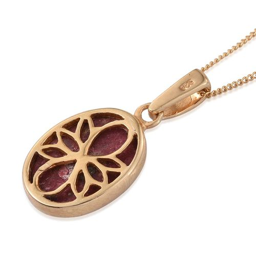 Norwegian Thulite (Ovl) Solitaire Pendant With Chain in 14K Gold Overlay Sterling Silver 6.500 Ct.
