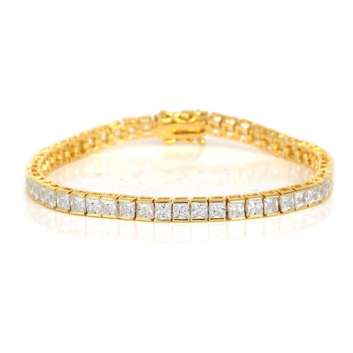 Close Out Deal Simulated White Diamond (Sqr) Bracelet (Size 7.25) in Gold Bond