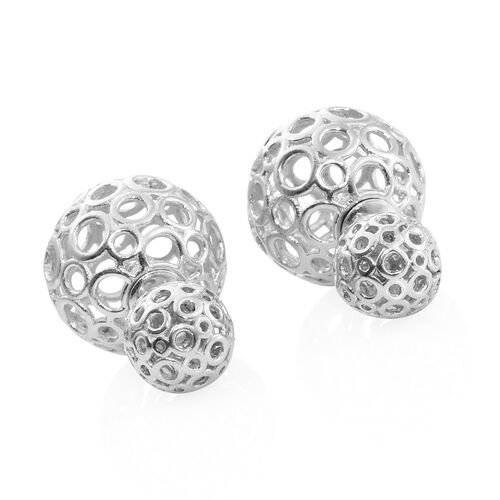 Designer Inspired - Platinum Overlay Sterling Silver Front and Back Stud Earrings (with Push Back), Silver wt. 8.02 Gms.