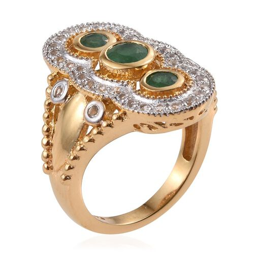 Kagem Zambian Emerald (Rnd 0.50 Ct), White Topaz Ring in 14K Gold Overlay Sterling Silver 1.500 Ct.