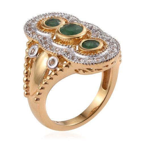 Kagem Zambian Emerald (Rnd 0.50 Ct), White Topaz Ring in 14K Gold Overlay Sterling Silver 1.500 Ct.