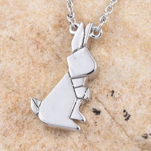 Platinum Overlay Sterling Silver Origami Bunny Pendant With Chain (Size 18), Silver wt 5.61 Gms.