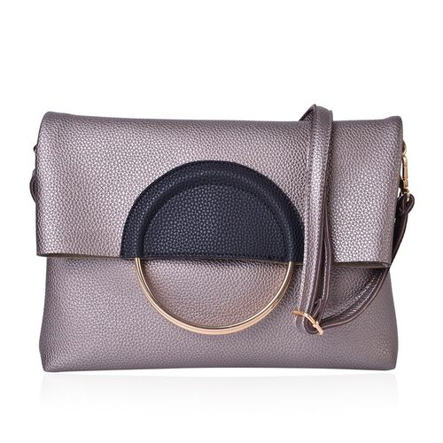 Set of 2 - Grey and Black Colour Handbag (Size 39X31X5 Cm) with Metallic Handles and Pouch (Size 19X18X4 Cm)