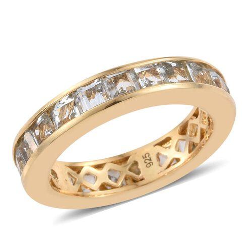 Aquamarine 3 Carat Silver Full Eternity Band Ring in Gold Overlay