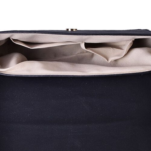 Dazzling Black Crossbody Bag with Adjustable Shoulder Strap (Size 24x17.5x7 Cm)