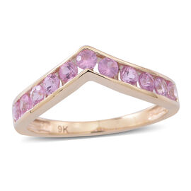 9K Y Gold AAA Pink Sapphire (Rnd) Wishbone Ring 1.250 Ct.