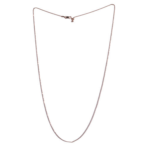 Rose Gold Overlay Sterling Silver Adjustable Diamond Cut Bead Chain (Size 24)