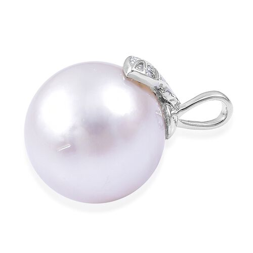 RHAPSODY 950 Platinum AAAA South Sea White Pearl (Rnd 13mm) Pendant with Diamond (VS/E-F)