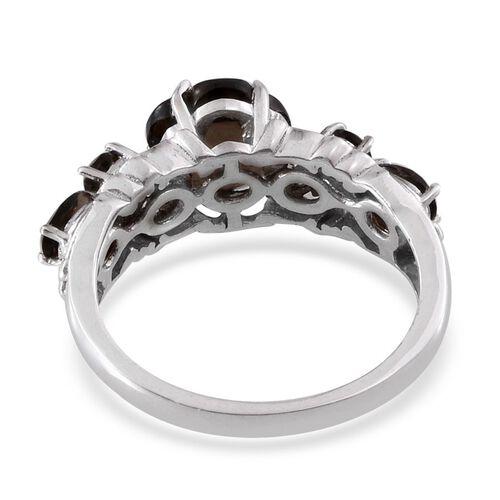 Brazilian Smoky Quartz Ring in Platinum Overlay Sterling Silver 2.750 Ct.