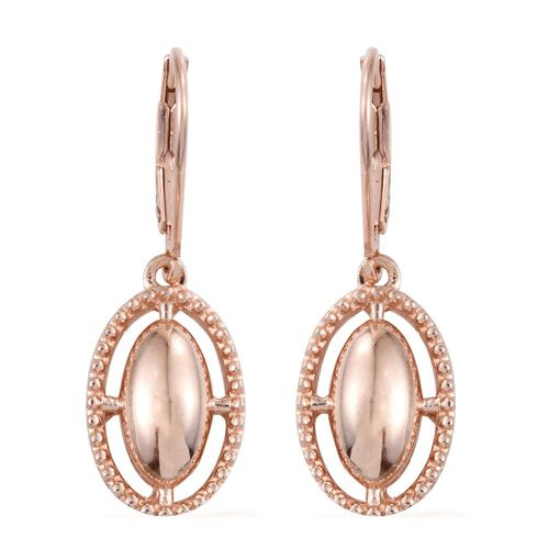 Rose Gold Overlay Sterling Silver Lever Back Earrings, Silver wt. 3.70 Gms.