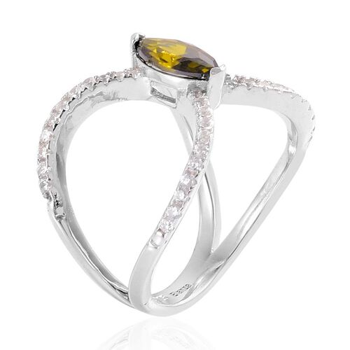 AAA Simulated Peridot and Simulated White Diamond Ring in Rhodium Plated Sterling Silver
