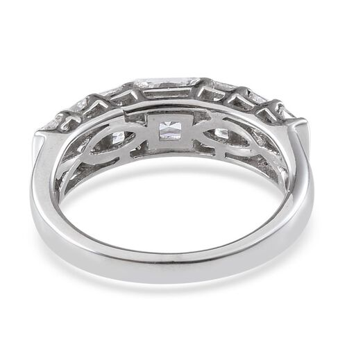 ELANZA AAA Simulated Diamond (Sqr) Half Eternity Ring in Platinum Overlay Sterling Silver