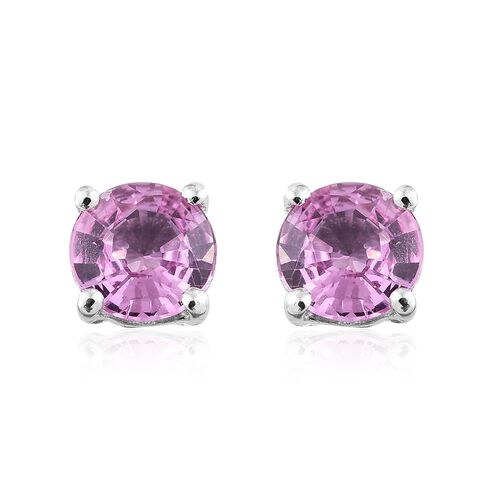 9K White Gold AA Pink Sapphire (Rnd) Stud Earrings (with Push Back) 1.000 Ct.