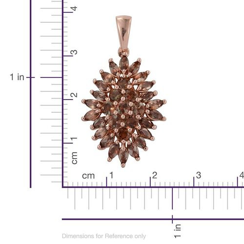 Brazilian Andalusite (Rnd) Cluster Pendant in Rose Gold Overlay Sterling Silver 3.000 Ct.