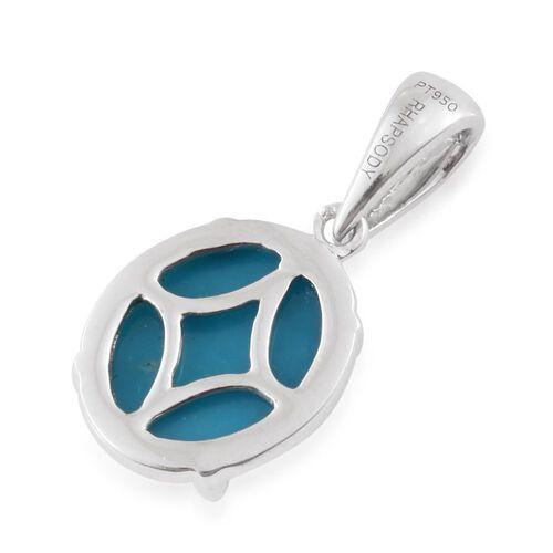 RHAPSODY 950 Platinum AAAAA Arizona Sleeping Beauty Turquoise (Ovl) Solitaire Pendant 3.000 Ct.
