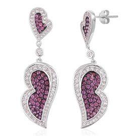 Designer Inspired-Rhodolite Garnet and Natural Cambodian White Zircon Leaves Drop Earrings (with Push Back) in Black Rhodium Plated Sterling Silver 2.750 Ct.