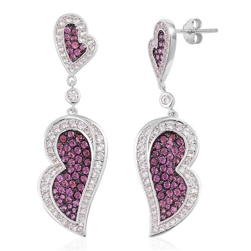 Designer Inspired-Rhodolite Garnet and Natural White Cambodian Zircon Dangling Heart Earrings (with Push Back) in Black Rhodium Plated Sterling Silver 2.750 Ct.