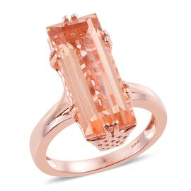 Galileia Blush Pink Quartz (Bgt) Solitaire Ring in Rose Gold Overlay Sterling Silver 8.000 Ct.