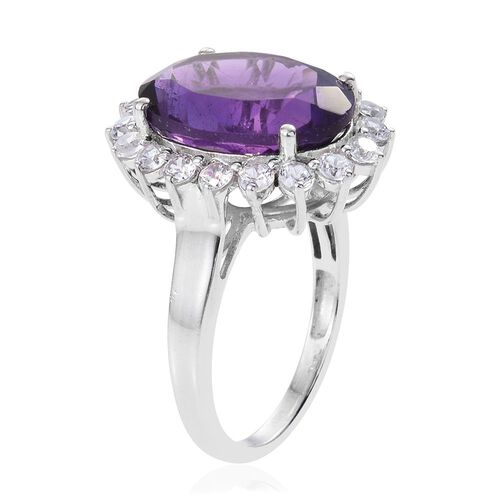 Amethyst (Ovl 7.00 Ct), Natural Cambodian Zircon Ring in Platinum Overlay Sterling Silver 8.750 Ct.