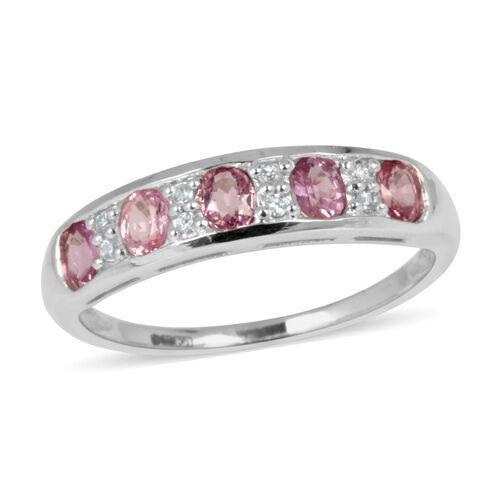 9K W Gold Pink Sapphire (Ovl), White Zircon Ring 1.100 Ct.