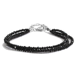 Super Auction- Show Stopper Collection Diamond Cut Boi Ploi Black Spinel Triple Strand Beads Bracelet (Size 7.5 with 1.5 inch Extender) in Rhodium Plated Sterling Silver 25.000 Ct.
