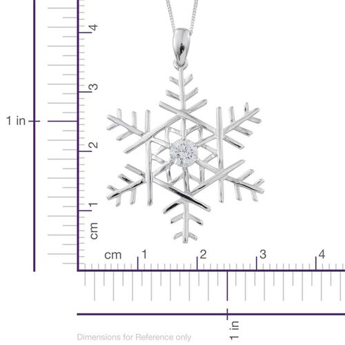 J Francis - Platinum Overlay Sterling Silver (Rnd) Snowflake Pendant With Chain Made with SWAROVSKI ZIRCONIA