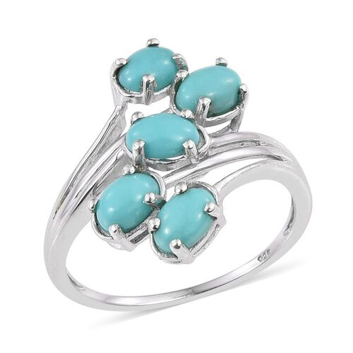 Sonoran Turquoise (Ovl) 5 Stone Crossover Ring in Platinum Overlay Sterling Silver 1.750 Ct.