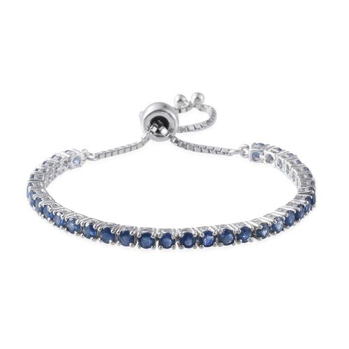 Kanchanaburi Blue Sapphire (Rnd) Adjustable Bracelet (Size 7.5) in Platinum Overlay Sterling Silver 7.671 Ct.