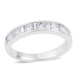 RHAPSODY 950 Platinum IGI Cetified Diamond (Princess Cut) (VS/E-F) Half Eternity Band Ring 1.000 Ct.