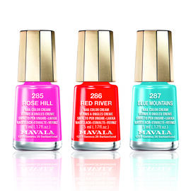 MAVALA-Trio Nail Polish Set- Inspiration 2- 286 Red River, 287 Blue Mountain and 285 Rose Hill.