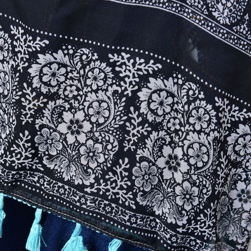 Black, Red, White and Sky Blue Colour Paisley Pattern Poncho with Tassels (Size 70X65 Cm)