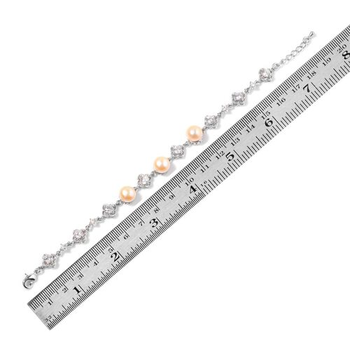 Fresh Water Peach Pearl and Simulated White Diamond Bracelet (Size 9 with Extender) in Silver Tone