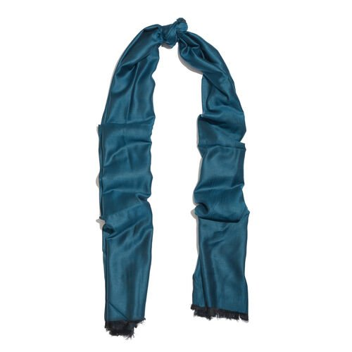 Vivid Blue Colour Reversible Scarf with Fringes (Size 200x70 Cm)