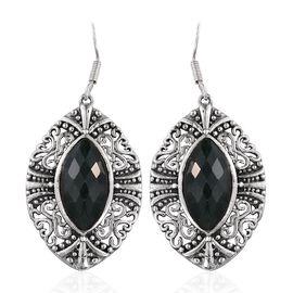 Enhanced Emerald (Mrq) Hook Earrings in Sterling Silver 13.250 Ct.