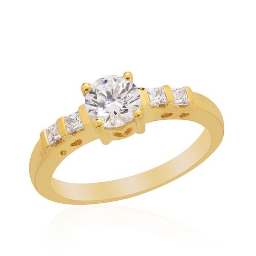 J Francis - 14K Gold Overlay Sterling Silver (Rnd) Ring Made with SWAROVSKI ZIRCONIA  1.020 Ct.