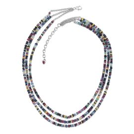 Multi Sapphire (Rnd) Beads Necklace (Size 16 with 2 inch Extender) in Sterling Silver 108.000 Ct.