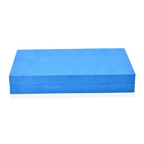 Blue Colour Velvet Multi Slots Jewellery Box with Pouch Pocket Inside (Size 32x19.5x6 Cm)