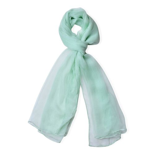 One Time Deal - 100% Mulberry Silk Turquoise Green Colour Scarf (Size 170X70 Cm)