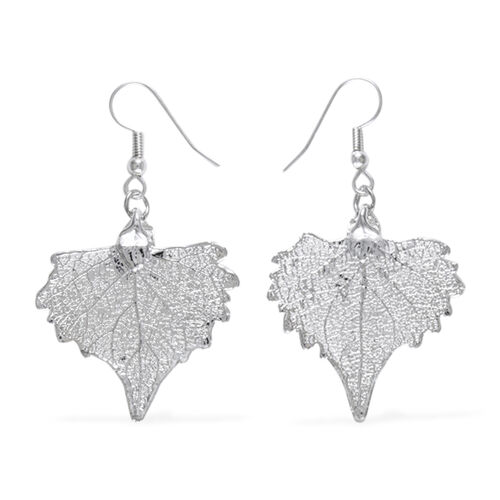 Real Real Cottonwood Leaf Hook Earrings Dipped in Silver