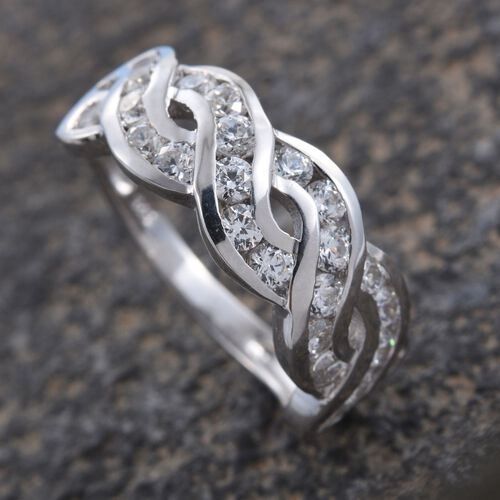 J Francis - Platinum Overlay Sterling Silver (Rnd) Infinity Ring Made with SWAROVSKI ZIRCONIA