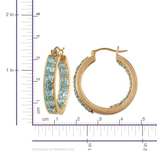 Paraibe Apatite (Ovl), Malgache Neon Apatite Hoop Earrings in Yellow Gold Overlay Sterling Silver 6.250 Ct.