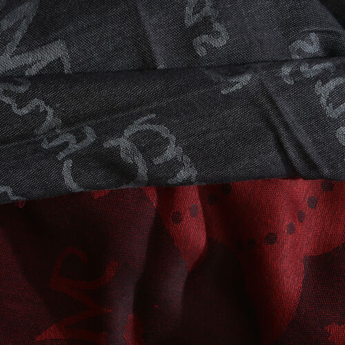 Autumn Winter Special Supersoft Modal Red, Black and Grey Colour Christmas Theme Inspired Reversible Jacquard Scarf with Fringes (Size 190X70 Cm)