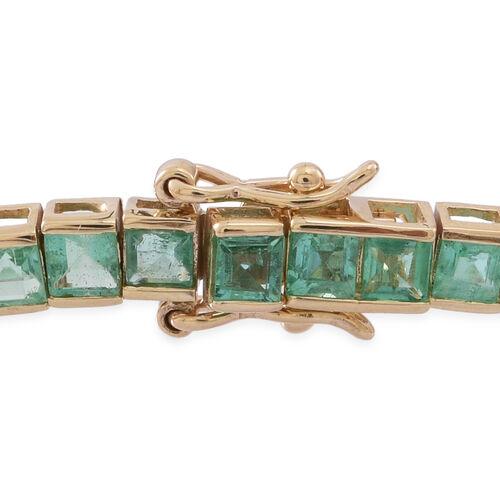 Limited Edition 9K Yellow Gold AAA Kagem Zambian Emerald (Sqr) Tennis Bracelet (Size 7.5) 10.000 Ct.