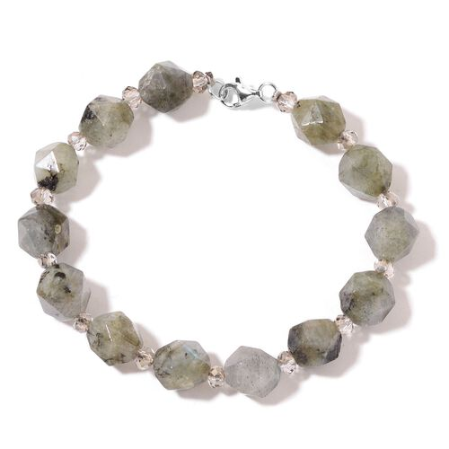 Labradorite  Bracelet (Size 7.5) in Rhodium Plated Sterling Silver 85.000 Ct.